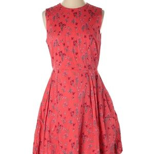 Gap 100% Cotton Floral Red Pink Casual Dress